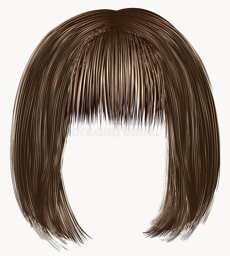 Colores marrones de los pelos franja del kare ilustración del vector