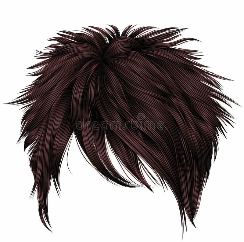 Colores marrones de moda de los pelos cortos de la mujer franja belleza s de la moda stock de ilustración