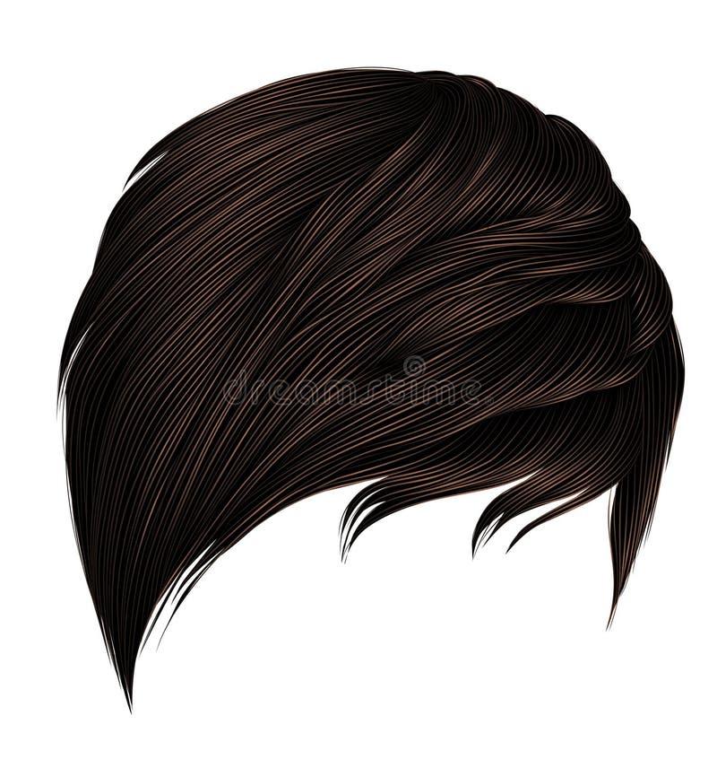 Colores marrones de moda de los pelos cortos de la mujer franja Estilo de la belleza de la moda 3d realista ilustración del vector