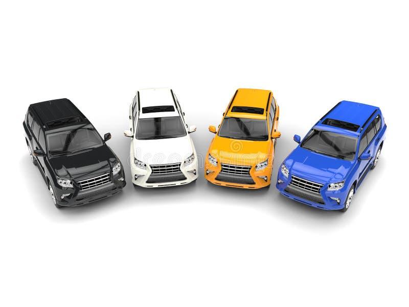 Colores negros, blancos, amarillos y azules de SUVs moderno - stock de ilustración