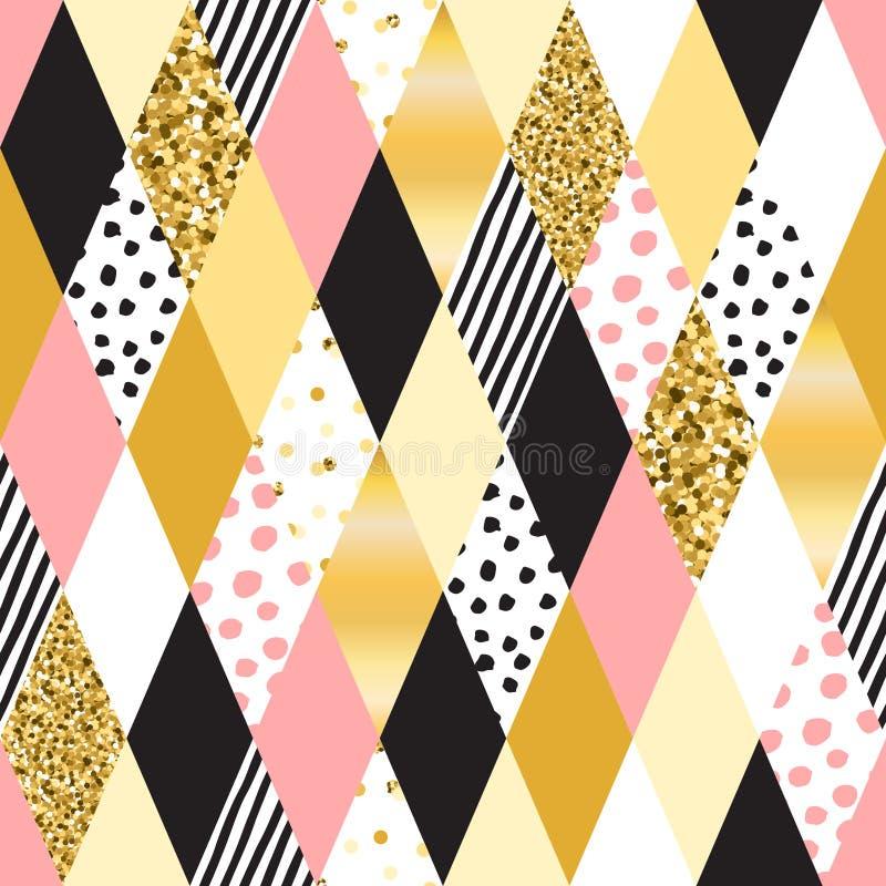 Colores negros, blancos, en colores pastel, golpeteo inconsútil del vector del Rhombus del oro ilustración del vector