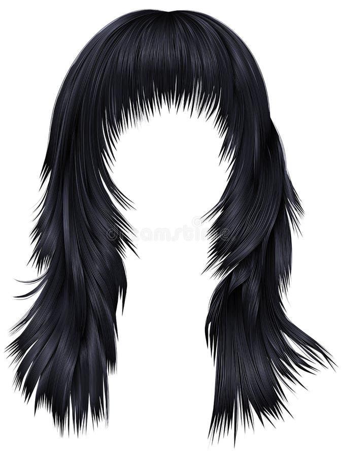 Colores negros morenos de los pelos largos de moda de la mujer fashio de la belleza libre illustration