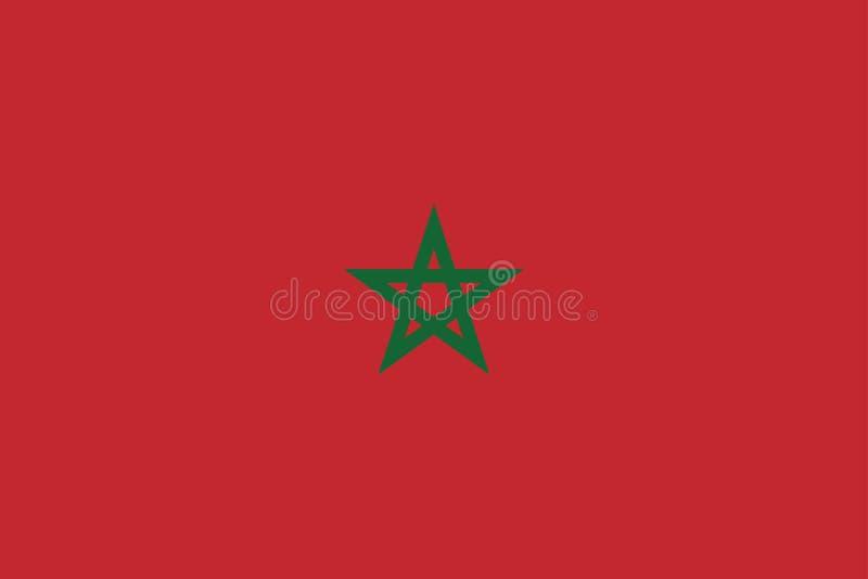 Colores oficiales y proporción de la bandera nacional de Marruecos correctamente Ejemplo nacional del vector de la bandera de Mar stock de ilustración