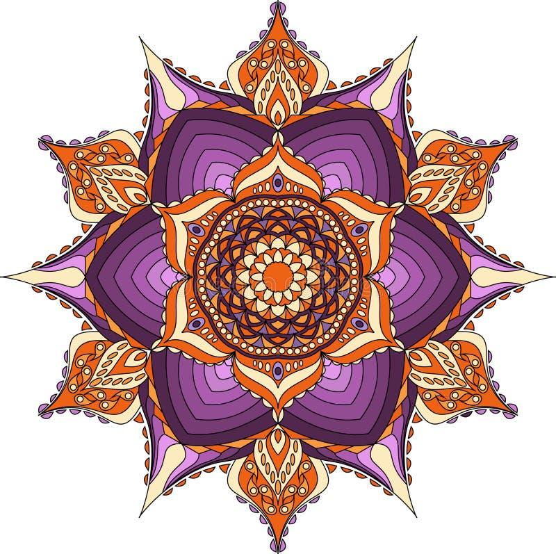 Colores orientales de la mandala, de la púrpura, anaranjados y beige ilustración del vector