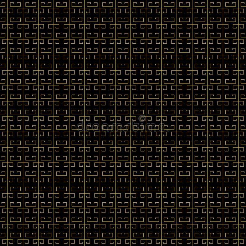 Colores oro negros japoneses del modelo del extracto del asiático simple inconsútil del fondo Puede ser utilizado para las telas, libre illustration
