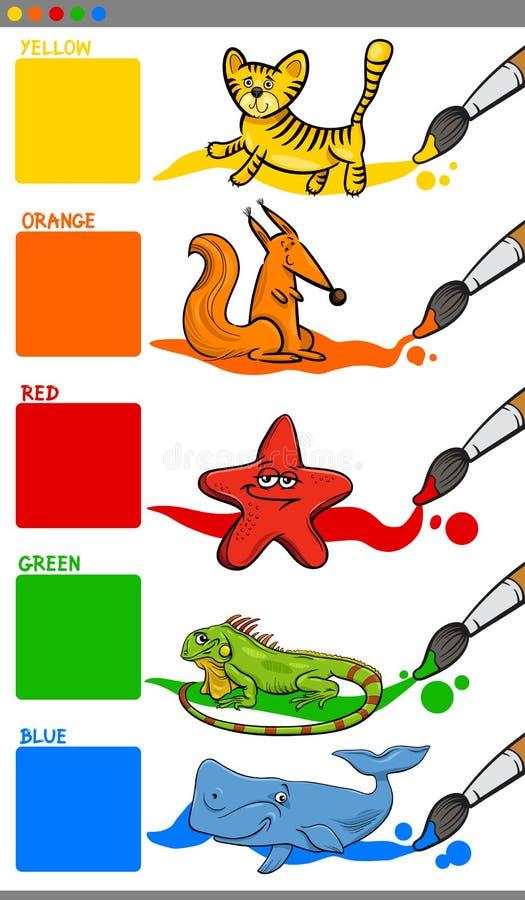 Colores principales con los animales de la historieta stock de ilustración