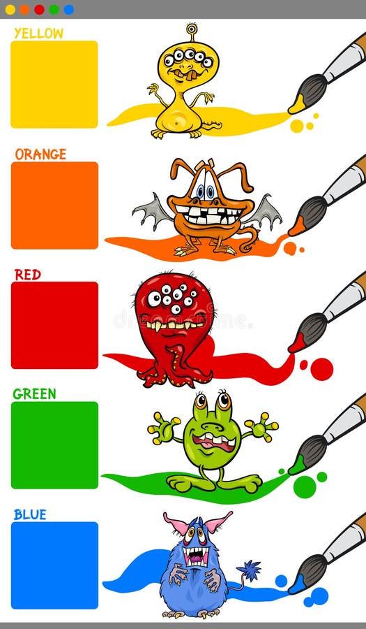 Colores principales con los monstruos de la historieta stock de ilustración