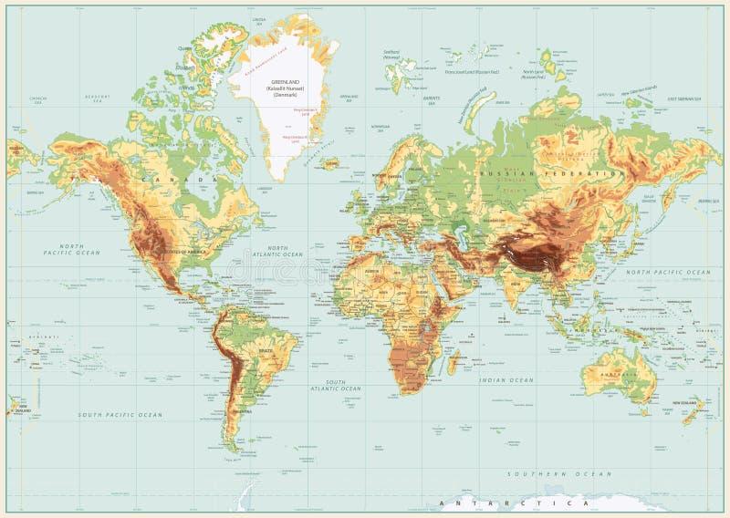 Colores retros del mapa del mundo físico detallado Ninguna batimetría ilustración del vector