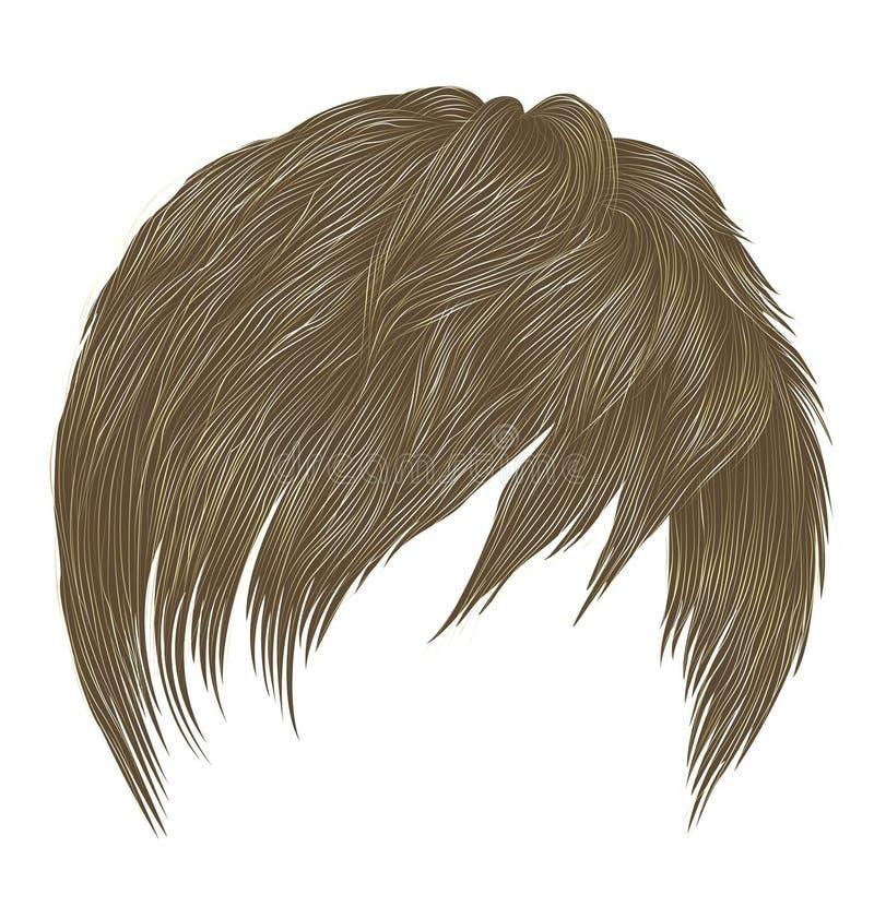 Colores rubios de moda de los pelos cortos del hombre de la mujer franja Estilo de la belleza de la moda 3d realista libre illustration