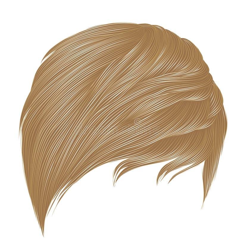 Colores rubios de moda de los pelos cortos de la mujer franja Estilo de la belleza de la moda 3d realista libre illustration