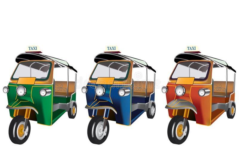3 colores Tuk Tuk en Tailandia fichero ilustración del vector