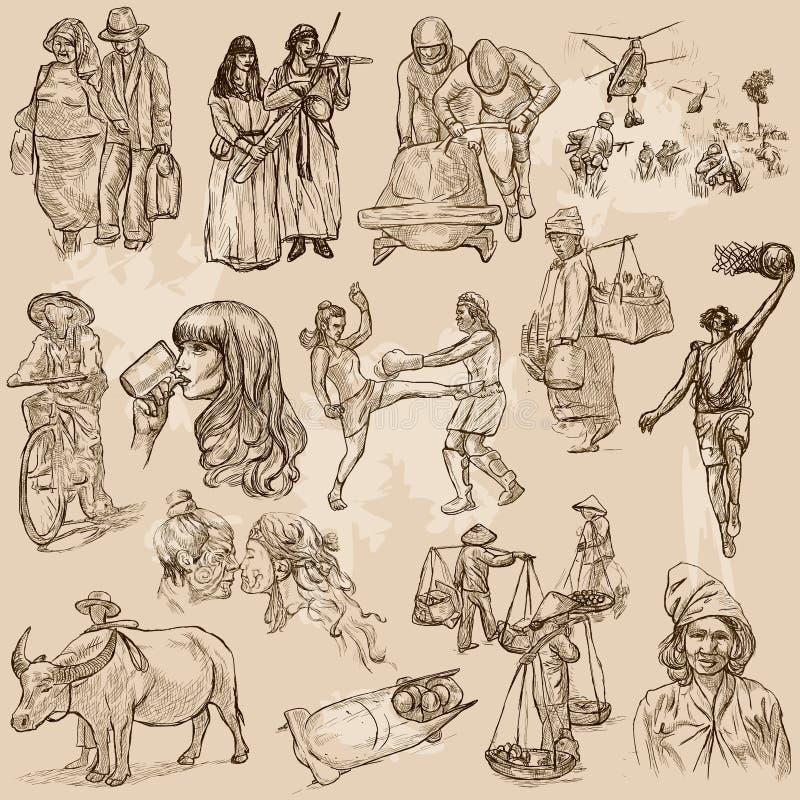 Colores unidos de la raza humana, gente - un sistema dibujado mano del vector stock de ilustración