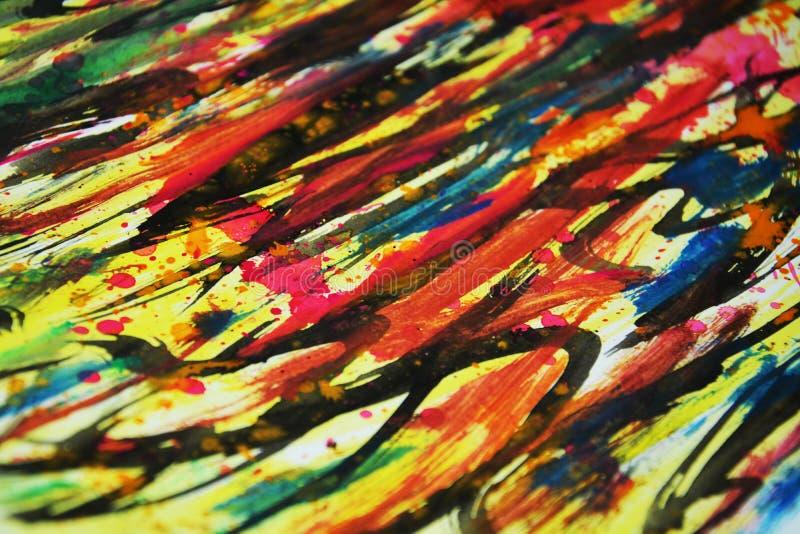 Colores vivos calientes de la acuarela, contrastes, fondo creativo de la pintura cerosa foto de archivo