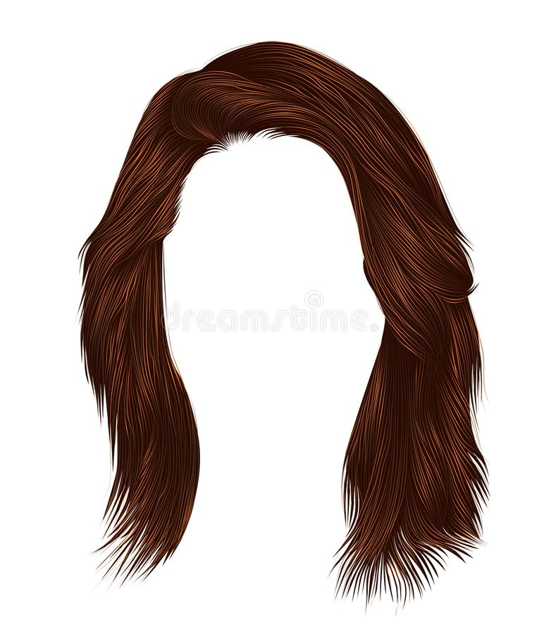 Colores womanRed de moda del pelirrojo del jengibre kare de los pelos con la franja Estilo de la belleza stock de ilustración