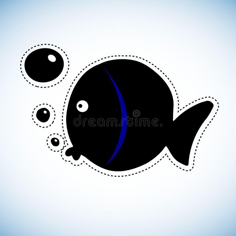 Colorez l'activité de dessin de poissons Le jeu éducatif pour l'école maternelle a vieilli des enfants, thème d'animaux illustration de vecteur