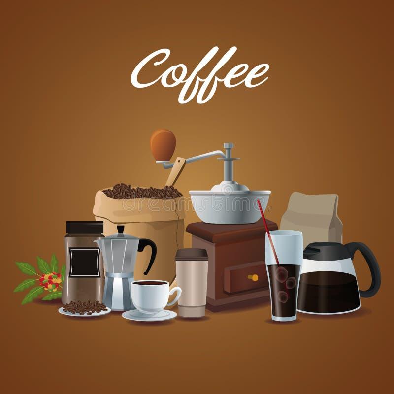 Colorez l'affiche de la préparation de café d'éléments d'ensemble et le récipient pour l'empaquetage illustration de vecteur