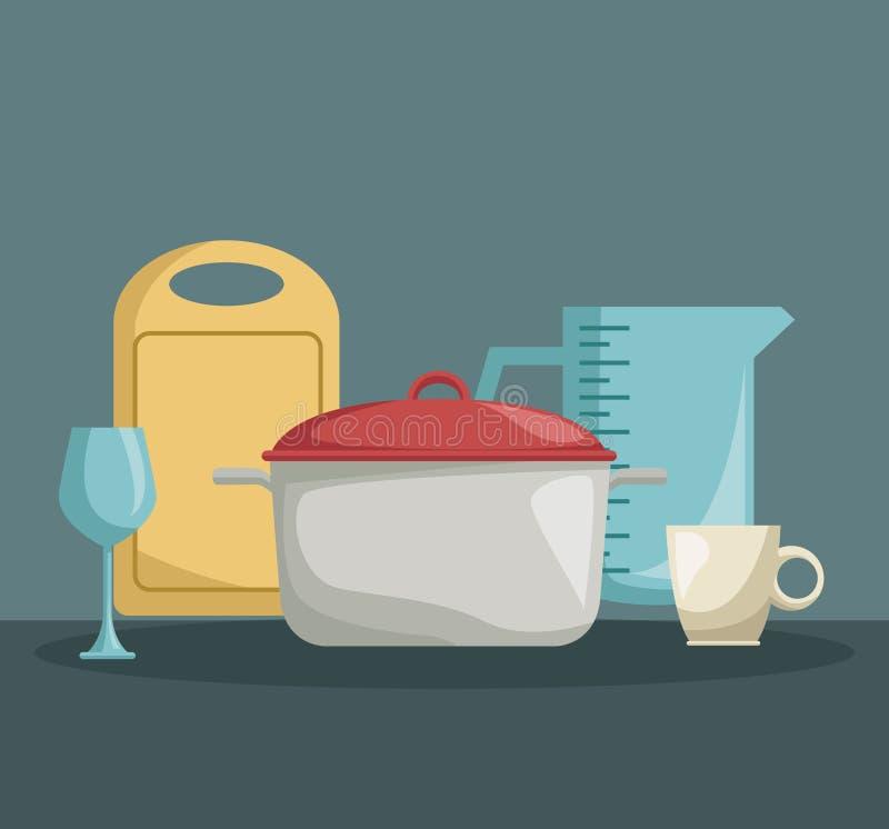 Colorez l'affiche des ustensiles réalistes d'ensemble de faire cuire la cuisine illustration stock