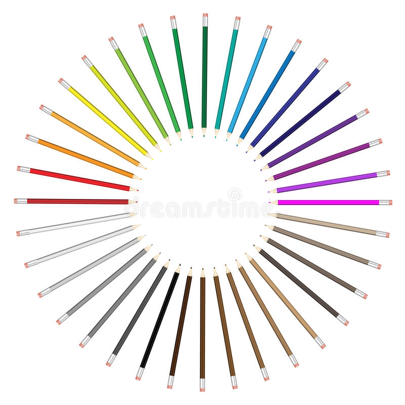 Colorez l'agencement radial de ventilateur de crayon illustration stock