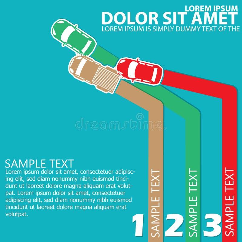 Colorez la collision des voitures A de la voiture trois avec l'espace pour la théorie d'ordre illustration stock