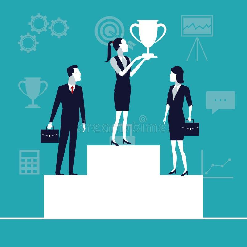 Colorez la croissance d'affaires de fond avec des gens d'affaires de teman dans le podium avec le trophée de tasse illustration de vecteur