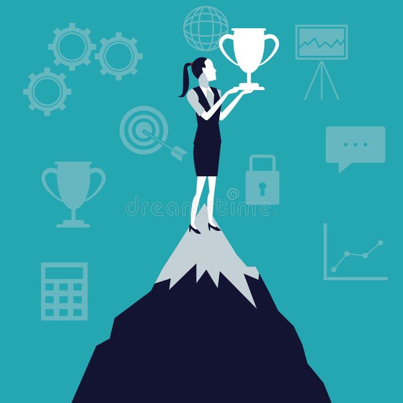 Colorez la croissance d'affaires de fond avec la femme d'affaires dans la montagne supérieure avec le trophée de tasse illustration stock