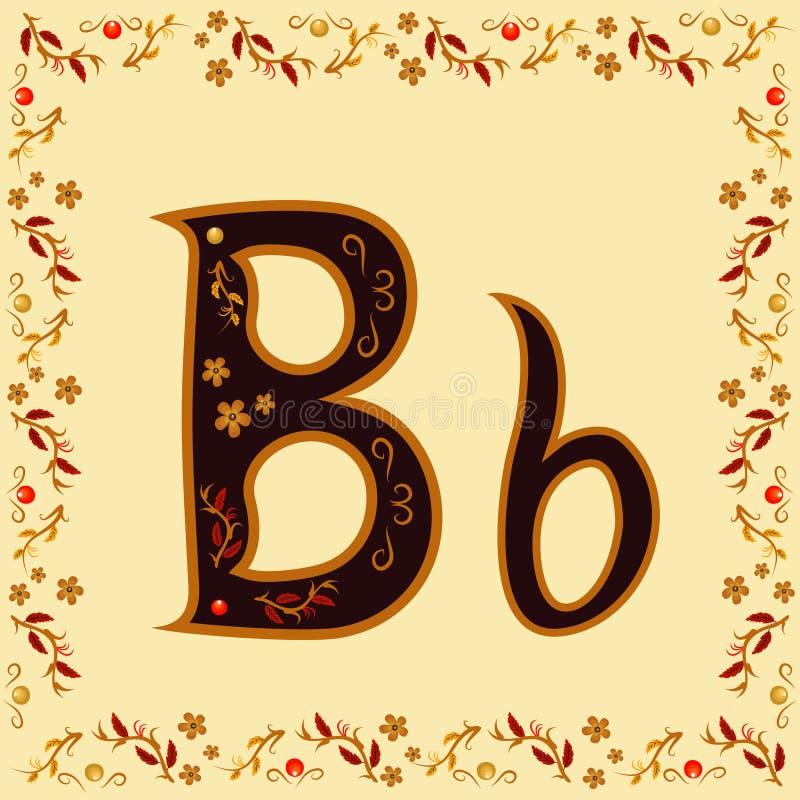 Colorez la lettre B de l'alphabet latin avec un modèle lumineux Khokh illustration stock