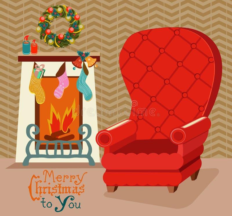 Colorez la rétro pièce avec la cheminée, et la grande chaise molle pour Christma illustration stock