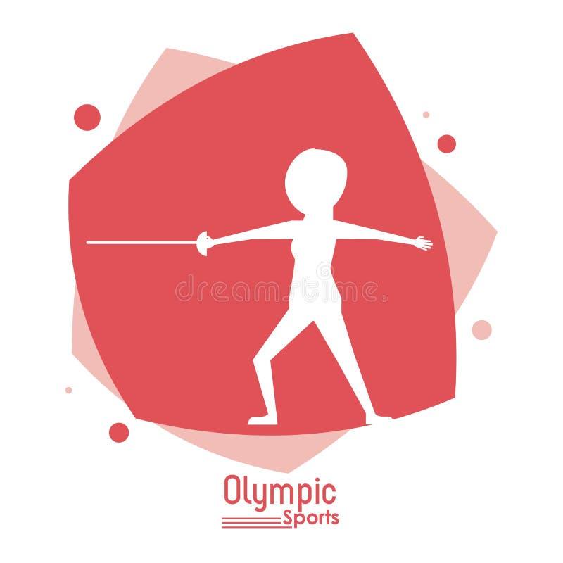 Colorez la scène abstraite avec le sport olympique de clôture sans visage de joueur de silhouette illustration de vecteur