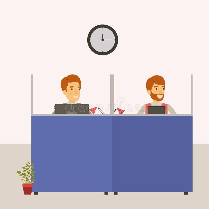 Colorez le bureau de lieu de travail de compartiments de fond avec des employés de l'homme illustration stock