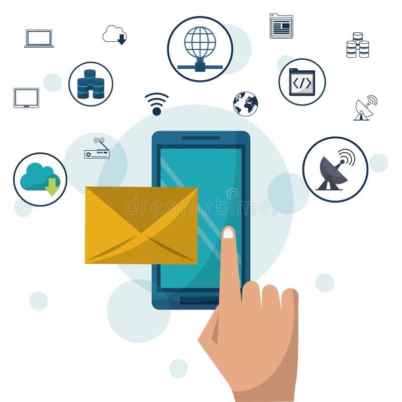 Colorez le fond avec le courrier de smartphone et d'enveloppe dans des icônes de plan rapproché et de mise en réseau sur le dessu illustration stock