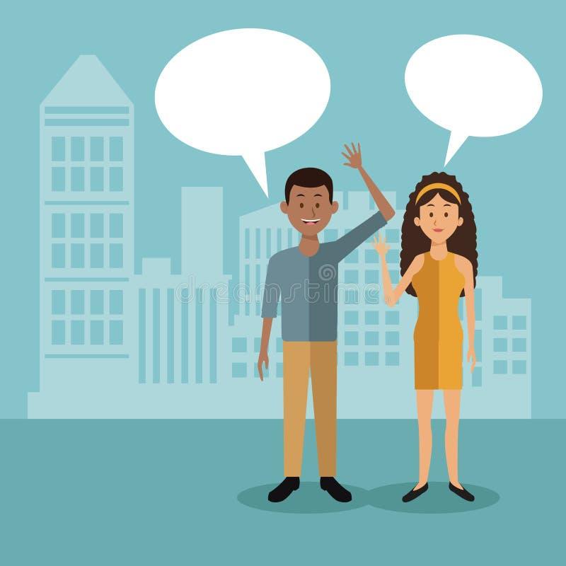 Colorez le fond avec de pleines personnes de couples de corps se tenant avec la zone de dialogue et la silhouette de paysage de v illustration de vecteur