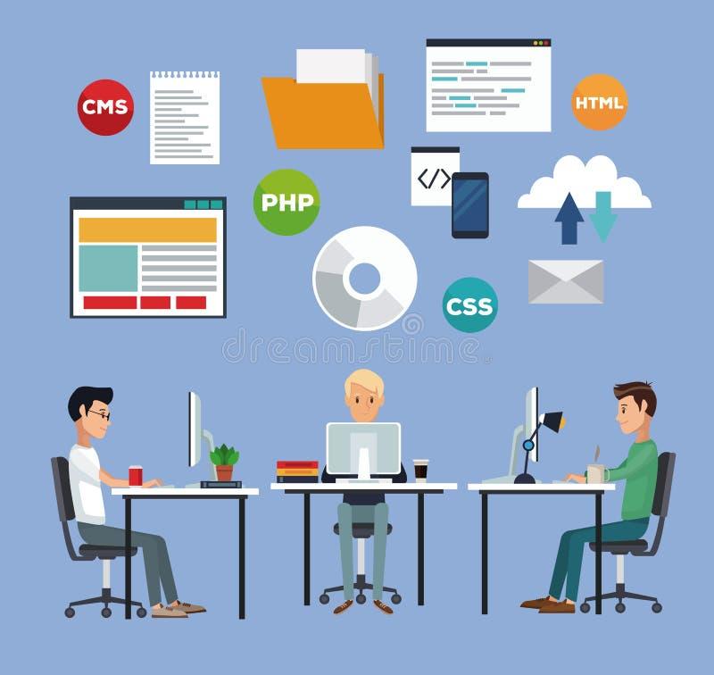 Colorez le fond avec des hommes de groupe de développeur web dans le langage de programmation de bureau illustration de vecteur