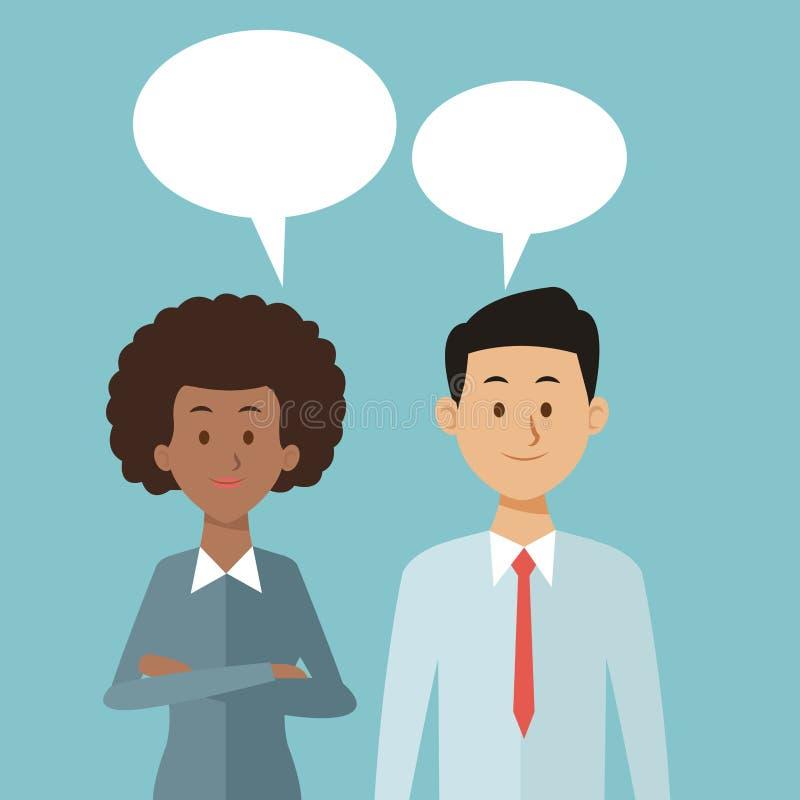 Colorez le fond avec des zones de dialogue d'ensemble et de demi personnes de couples de corps illustration de vecteur