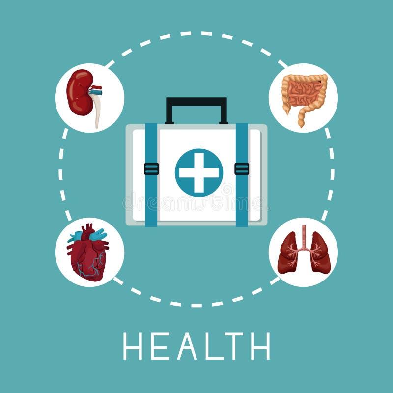 Colorez le fond avec la boîte de premiers secours au centre avec le système humain d'organes autour de la santé des textes illustration libre de droits