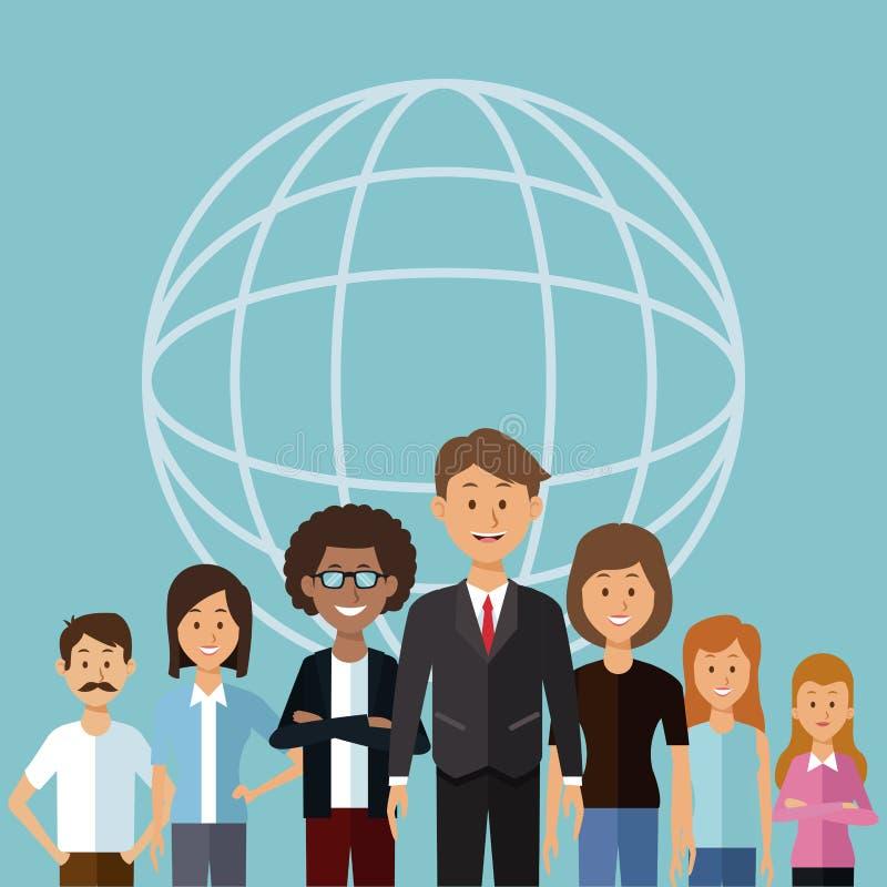 Colorez le fond avec la forme de carte de globe de demi personnes de groupe de corps de la diversité du monde illustration stock