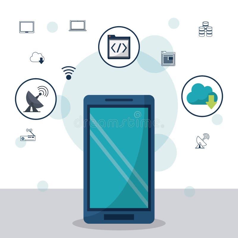 Colorez le fond avec le smartphone dans des icônes de plan rapproché et de mise en réseau sur le dessus illustration de vecteur