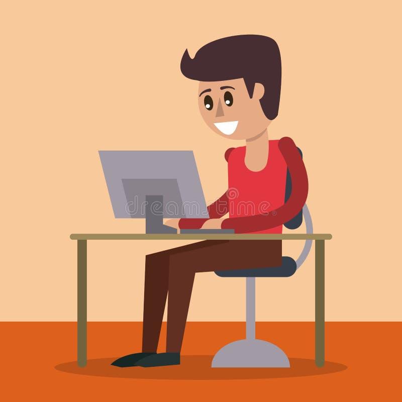 Colorez le fond du bureau avec l'ordinateur de bureau et l'homme s'asseyant dans la vue de côté illustration libre de droits