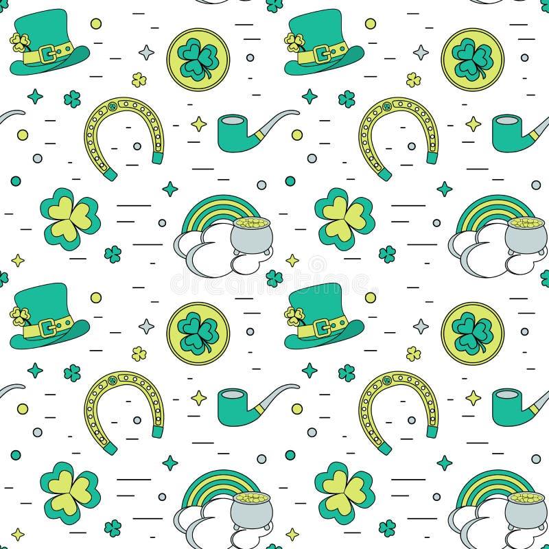 Colorez le fond sans couture moderne pour le jour de Patricks Les attributs traditionnels illustration de vecteur