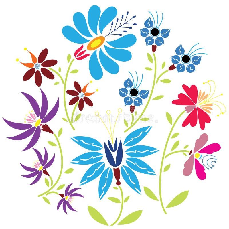 Colorez le modèle floral folklorique en cercle sur le fond blanc illustration stock