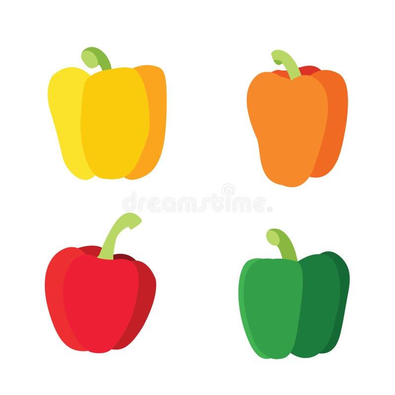 Colorez le paprika vert rouge jaune-orange d'isolement sur le fond blanc illustration stock