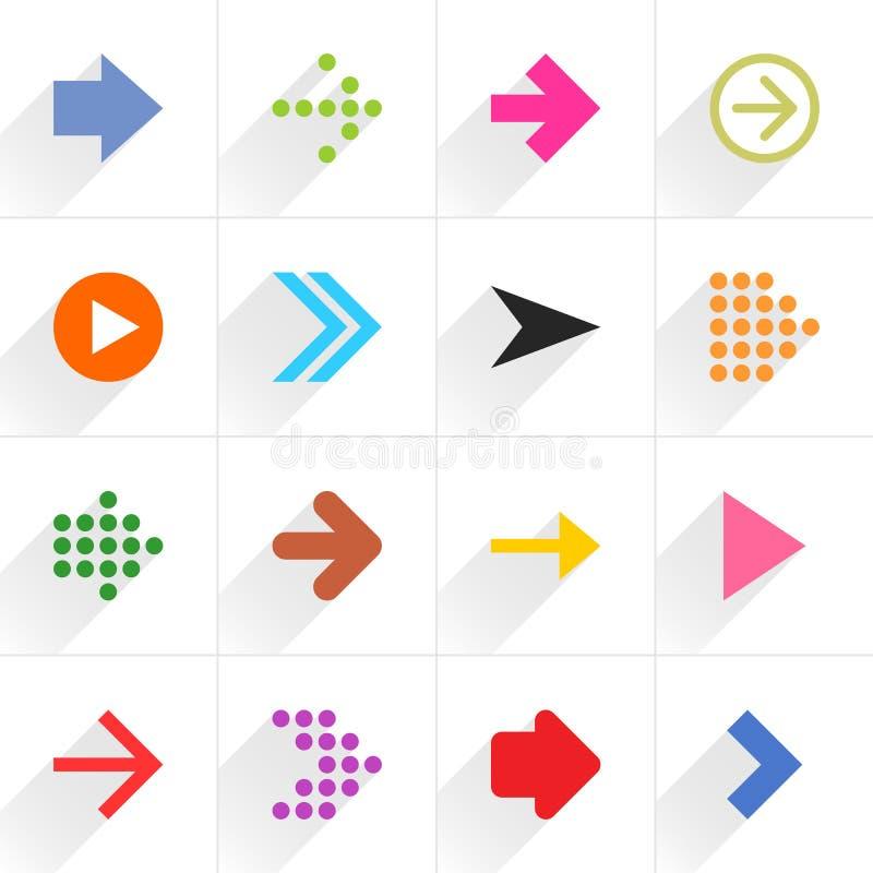 Colorez le signe plat d'icône de flèche avec la longue ombre photo libre de droits