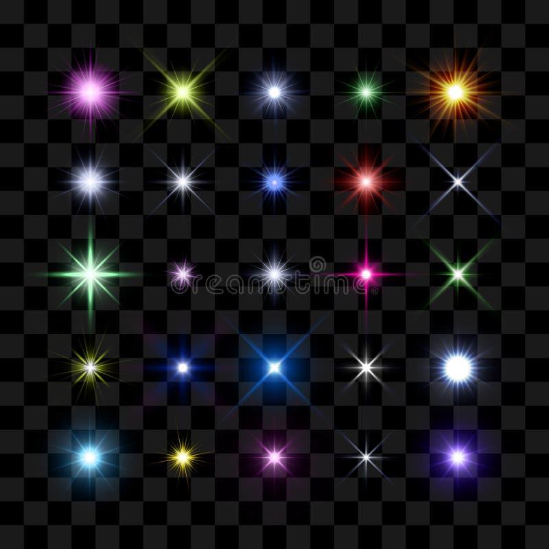 Colorez le starburst, vous tenez le premier rôle et miroitez rougeoyant éclaté illustration stock