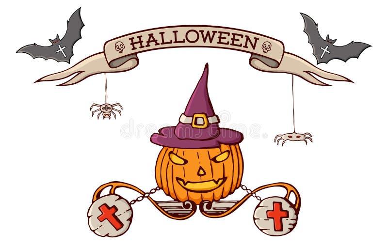 Colorez les éléments tirés par la main de bande dessinée de griffonnage du celebratio de Halloween illustration de vecteur
