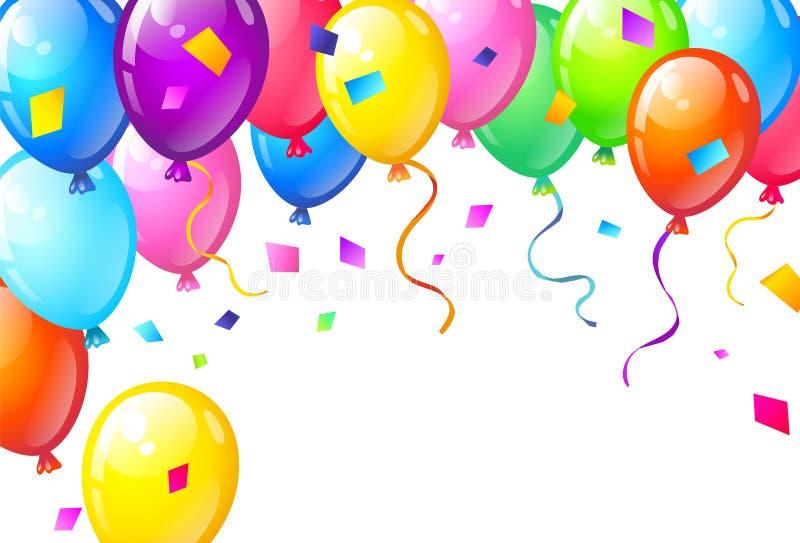 Colorez les ballons brillants de joyeux anniversaire photos stock