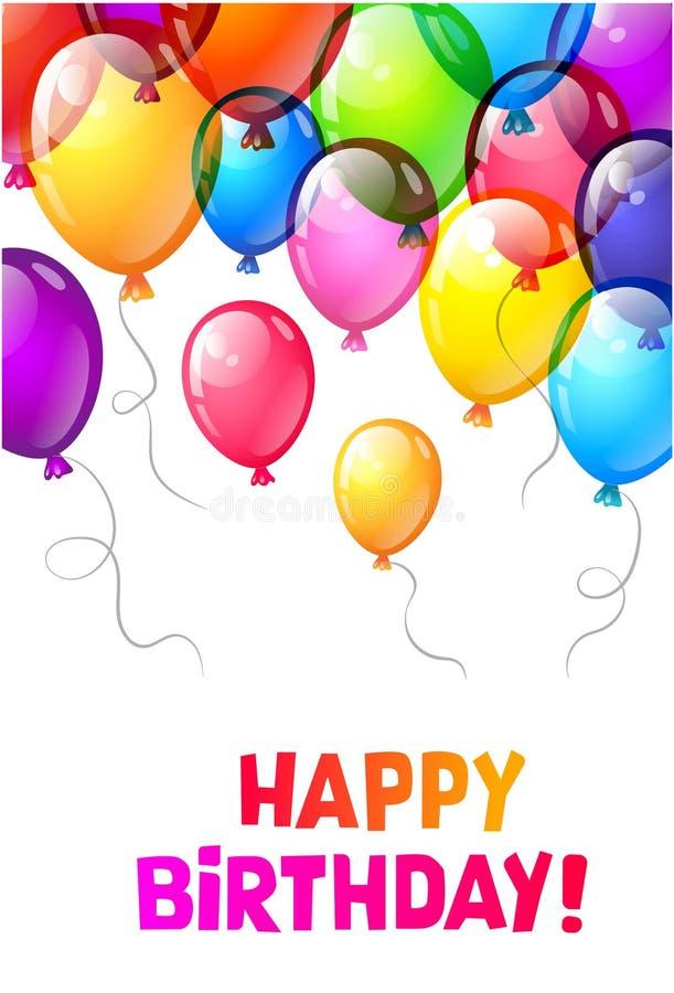 Colorez les ballons brillants de joyeux anniversaire image stock