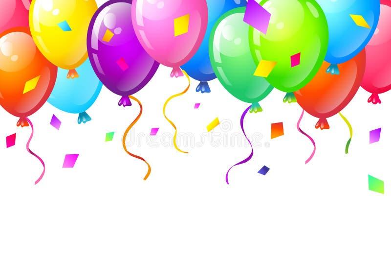 Colorez les ballons brillants de joyeux anniversaire image libre de droits