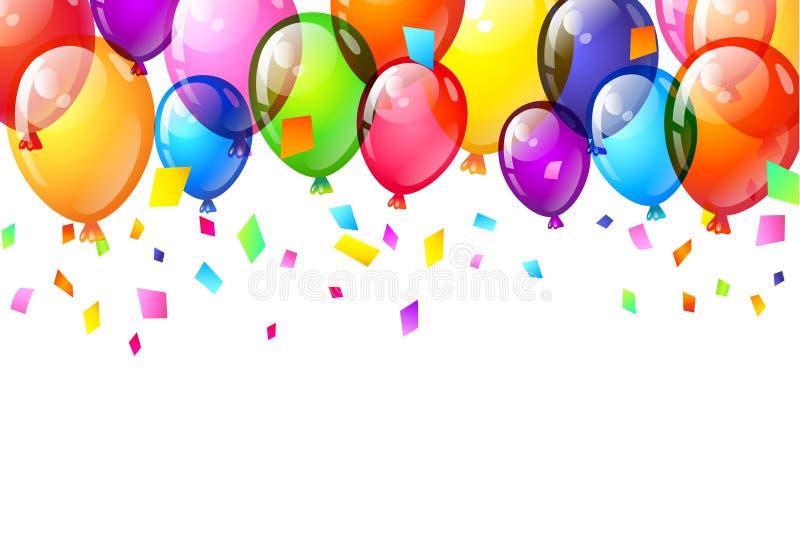 Colorez les ballons brillants de joyeux anniversaire Vecteur photos stock