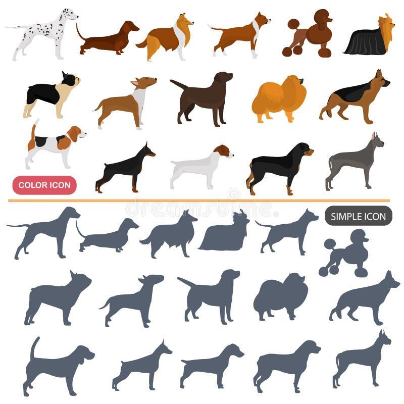 Colorez les icônes plates et simples de races de chiens réglées illustration libre de droits