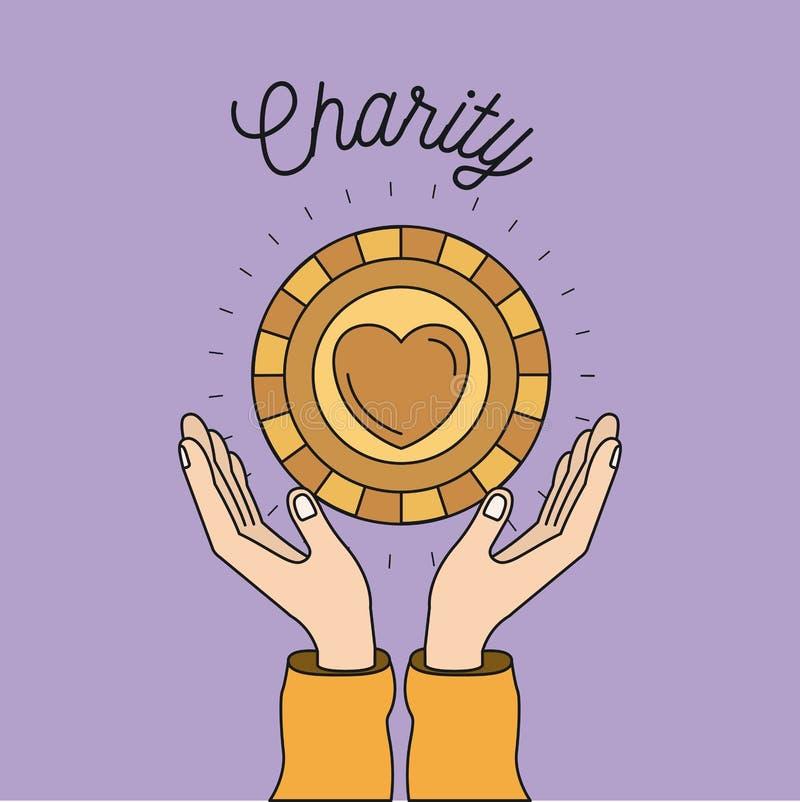 Colorez les mains de fond d'image avec flotter la pièce de monnaie d'or avec la forme de coeur à l'intérieur du symbole de charit illustration libre de droits