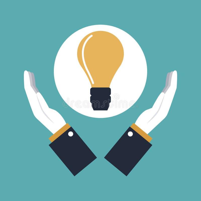 Colorez les mains de fond tenant une ampoule de solution d'icône illustration stock